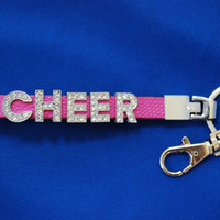 "Rhinestone ""CHEER"" Lanyard keychain with Lobster Clasp"