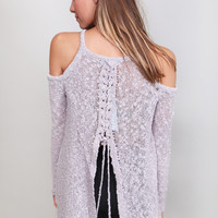 Lavender Fields Lace-Up Sweater