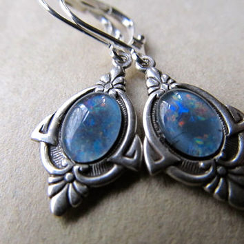 Opal Earrings Sterling Silver Earrings Fire Opal Earrings Art Nouveau Earrings Blue Drop Earrings- Priscilla