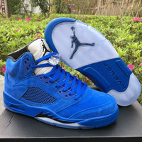 "Air Jordan 5 Retro ""Raging Bull"" 2017 Blue Mens Leather Sneaker"