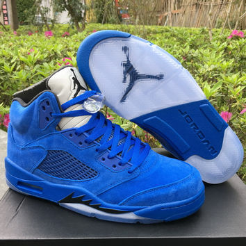 "Air Jordan 5 Retro ""Raging Bull"" 2017 Blue Leather Sneaker"