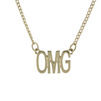 "Gold OMG Pendant 22"" Necklace"