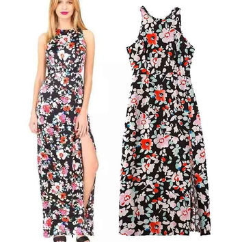Women's Fashion Floral Print Split Sleeveless One Piece Dress [4918983748]