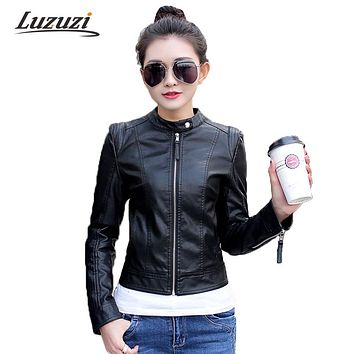 Women PU Leather Jacket Spring Autumn Faux Soft Leather Long Sleeve Motorcycle Suede Outerwear Fashion Overcoat 2017 WS307