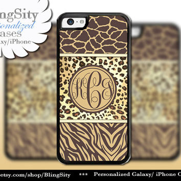 Leopard Monogram iPhone 5C 6 Case Plus iPhone 5s 4 Ipod 4 5 Touch case Cheetah Giraffe Zebra Print Personalized