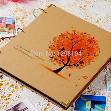 DIY 12 Inch Vintage Retro Craft Photo Albums Handmade picture photograph for Wedding Scrapbooking Customize Name Free shipping