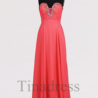 Custom Watermelon Red Beaded Long Prom Dresses Bridesmaid Dresses 2014 Fashion Evening Dresses Party Dress Evening Gowns Homecoming Dresses