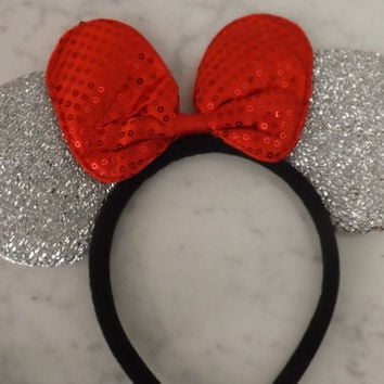 Minnie Mouse ears headband Silver Sparkle Red Sequin Bow Mickey Mouse Ears, Disneyland, Disney World