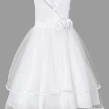 (Sale) Girls Size 7/8 White Cross-Over Bodice Dress with Tiered Tulle Skirt