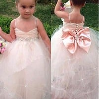 [59.99] Lovely Tulle Spaghetti Straps Neckline Ball Gown Flower Girl Dresses With Bowknot - dressilyme.com