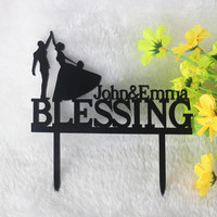 Personalized Name Cake Topper Wedding Anniversary Cake Topper Acrylic 19 Colors Initial Cake Topper-2585