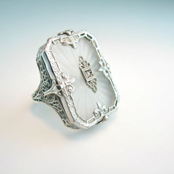 Camphor Glass Ring Vintage Art Deco 1920s Sterling Silver Filigree Size 7.25 Statement Jewelry