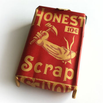 1910 Honest Scrap Tobacco Pouch / Soft Pack Paper Package / Unopened Tobacco Bag