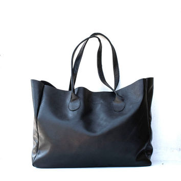 Black Leather Shopper / Leather Tote / Shoulder Bag / Black Leather Bag / Leather Bag / Women's Handbag / Raw Edged Shopper / Black Tote