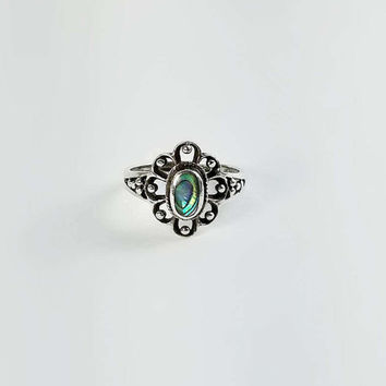Sterling Abalone Ring - Sterling Lattice Ring Size 7 - Sterling Flower Ring with Abalone Cabochon - Signed Vintage Sterling Ring