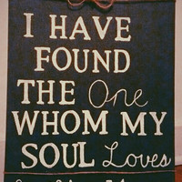 Rustic Dark Green Canvas Painting Bible Verse Song Of Solomon Home Decor Wedding Art