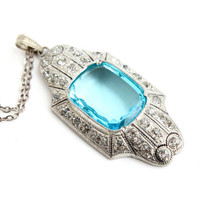Antique Art Deco Great Gatsby Necklace - Vintage Blue Glass & Clear Rhinestone Costume Jewelry / 1920s 1930s Roar