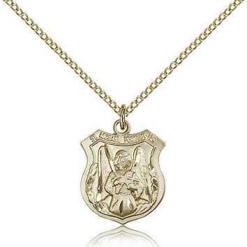 "Saint Michael The Archangel Medal For Women - Gold Filled Necklace On 18"" Cha... 617759795189"