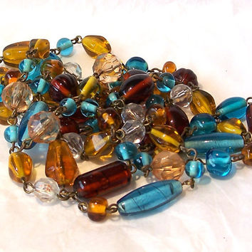 Vintage Glass Bead Necklace Turquoise blue, Amber, Clear
