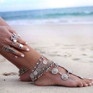 Women's Silver Bohemian Boho Turkish Coin Anklet