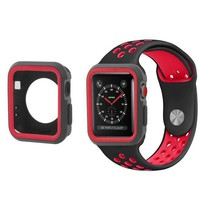 Apple Watch 42mm Black/red Sport Band W/case Iwatch Strap Series 123 M / L