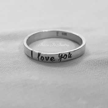 Hand Stamped Jewelry - Sterling Silver Stacking Ring, I Love You Ring, Mother Ring, Stackable Name Ring, Personalized Ring, Gift for Her