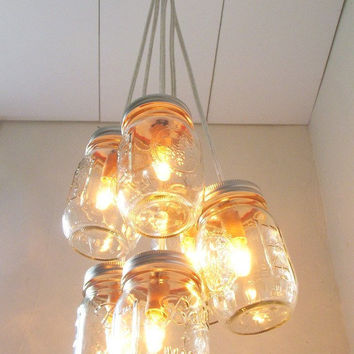 Chasing Fireflies Mason Jar Chandelier Lighting Fixture - Swag Lamp Handcrafted Upcycled BootsNGus Hanging Pendant Lamp Design
