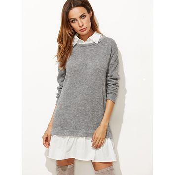 Contrast Collar And Hem 2 In 1 Sweatshirt Dress