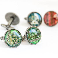 Circuit board Cuff links - Geeky computer cufflinks - antique silver