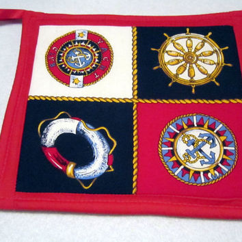 Nautical Potholders featuring Anchors, Compasses