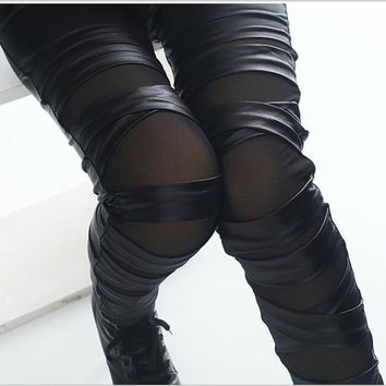 2017 brand new fashion lady leather leggings black white bandage cross women leggings patchwork mesh and fake leather legging