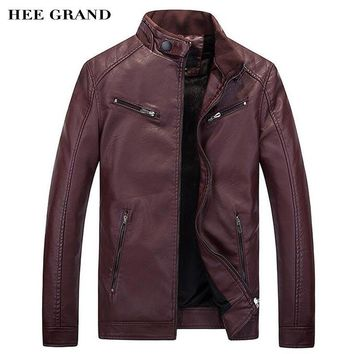 HEE GRAND 2017 New Arrival Men Fashion Fleece Pu Jacket Slim Fitted Early Spring Autumn Leather Outwear Size M-3XL MWP411