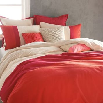 DKNY Colorblock Duvet Cover in Coral