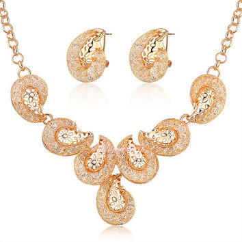 Stardust Deluxe Women Wire Mesh Crystal Necklace Earrings Jewelry Set 18k Gold Plated Fashion Jewelry Gift N958