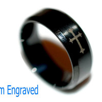 Engraved Stainless Steel Ring - Engraved Cross Ring - Personalized Ring - Custom Religious Cros Ring - Gift for Him -Custom Religous Jewelry