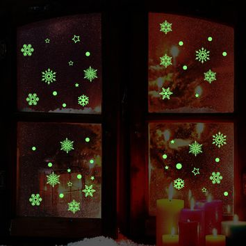 Christmass Nowflake Luminous Removable Shop Window Wall Stickers Living Room Decoration Refrigerator Art Decals Home Decor