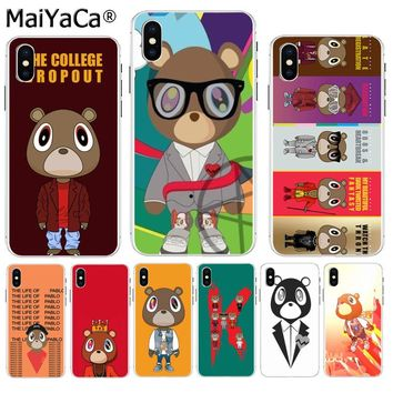 MaiYaCa Kanye West Graduation Bear Cute Phone Case Cases Back Cover Capa for iPhone 8 7 6 6S Plus X XS max 10 5 5S SE XR
