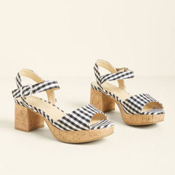 Parading Patterns Block Heel in Gingham