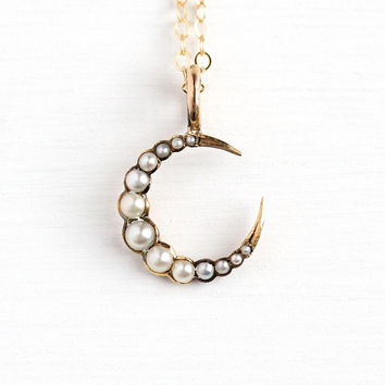 Crescent Moon Necklace - Antique Edwardian Era 14k Rosy Yellow Gold Seed Pearl Pendant - Vintage 1900s Celestial Fine Conversion Jewelry