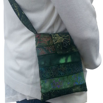 Cross Body Hip Purse in Dark Green Batik