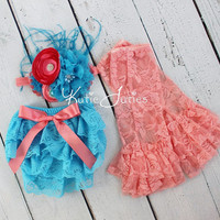 Cake Smash Set- Coral & Turquoise, Lace Diaper Cover, Headband, Leggings, bloomers, newborn, baby girl, toddler, birthday, cake smash