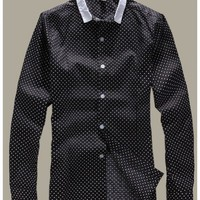 Black Long Sleeve Autumn New Style British Style Slim Dot Men Cotton Shirt M/L/XL/XXL @WH0334b $14.99 only in eFexcity.com.