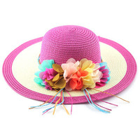 Hot Pink Broad Brim Beach Straw Hat with Applique
