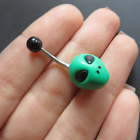 Green Alien Belly Button Ring Navel Stud Jewelry Bar Barbell Piercing Grey Martian Ufo
