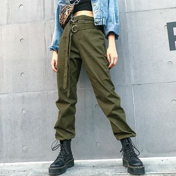 High waist pants green loose joggers women army harem camo pants streetwear punk black cargo pants women capris trousers