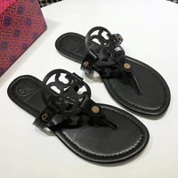 Tory Burch Fashion New Solid Color Leopard Print Slippers Shopping Leisure Shoes Sandals Women Black