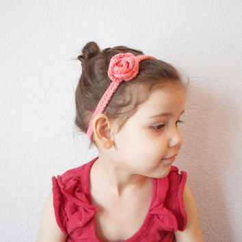 Girls Crochet  Spring Rose Headband in Peach , Infants to Adults, MADE TO ORDER.