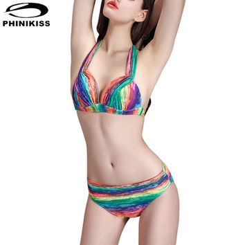 Gradient Women Halter Bikini Sets Ratro Push Up Rainbow Swimwear
