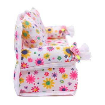 Mini Dollhouse Furniture Flower Soft Sofa Couch With 2 Cushions For Doll House Accessories Hot Selling