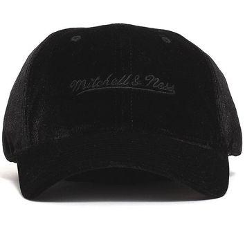 Velour Slouch Strapback Hat Black